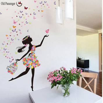 Old Passenger _Personality Fairies Girl Butterfly Flowers Art Decal Wall Stickers For Home Decor DIY Mural Kids Rooms