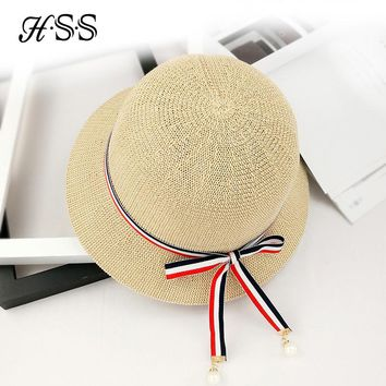 HSS Brand Quality Summer women hats bow pearl ribbon cap straw hat Lady wild trip holiday sun hats fisherman pot cap