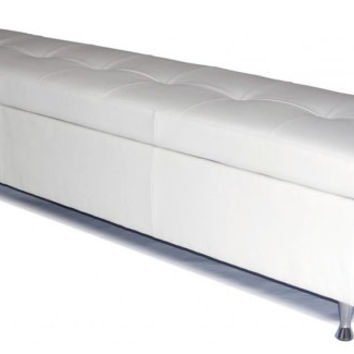 Contemporary - King Size White Leather Tufted Storage Bench, Chest, Ottoman