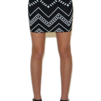 Lala Zig Zag Tribal Print Mini Skirt