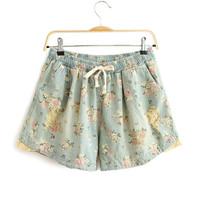 Rose Garden Distressed Lace Edge Short
