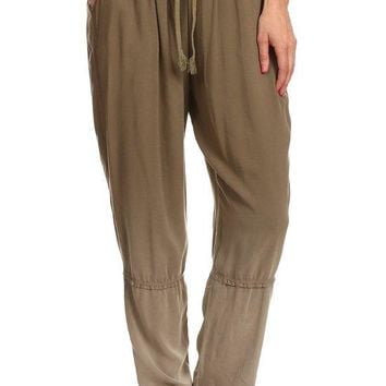 Solid Full Length Relaxed Fit Pants