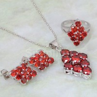 Silver plated Red diamond jewelry set