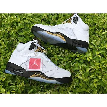 Air Jordan Retro 5 Olympic Basketball Shoes Men And Women 5s Olympic Gold Tongue Metallic White Gold 5s Coin Medal Sneakers High Quality With Box
