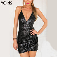 YOINS New 2016 Women Black Sexy Sequin Dress Sleeveless Strap V-neck Backless Slim Bodycon Dress Clubwear Dress