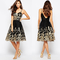 Gold and Black Applique Strapped Dress