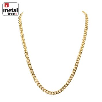 """Jewelry Kay style Men's 7 mm Solid 14K Gold Plated Stainless Steel Cuban Link Chain Necklace 24"""""""