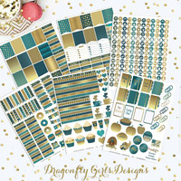 November Teal and Gold Printable Planner 450 Stickers pdf and 6 jpeg Erin Condren Life Planner Kikkik Filofax