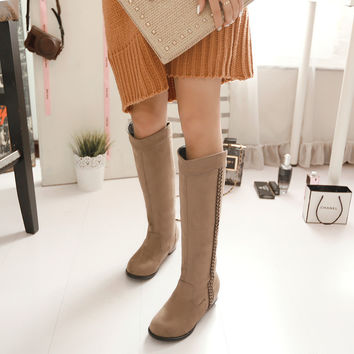 Suede Round Toe Low Heel Woven Decoration Knee High Boots