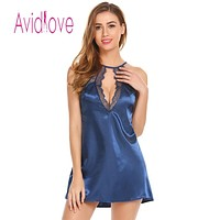 Pajamas Satin Lace Patchwork Sexy Halter Chemise G-string Lingerie Women
