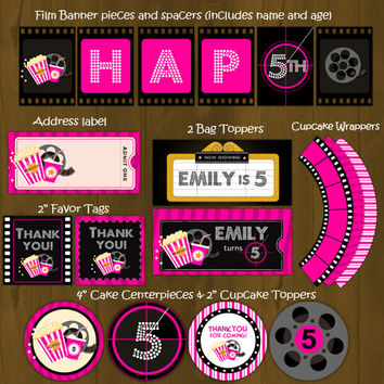Hot Pink Movie Night Printable Birthday Party Package - Movie Night Complete Birthday Set - Invitation, cupcake toppers, banner etc