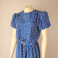 Vintage. 70's Blue Floral Dress. Day Dress. Secretary. Short Sleeves. White Flowers. Pink Polka Dots. Belted. Retro. Medium Large 10 12