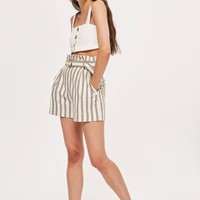 Taupe Striped Shorts - Clothing