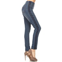 Racing Stripe Denim Jegging - Denim Blue