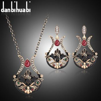 Turkish Jewelry Sets Earrings & Ring Antique Gold Color Resin Flower Brincos Water Drop Stud Earrings Crystal Aros Schmuck Sets