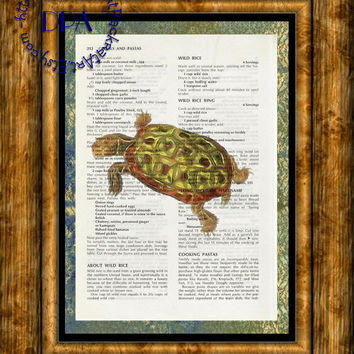 Green Sea Turtle into the Light Glow Art - Vintage Upcycled Cookbook Page Art Print, Ocean Life Print