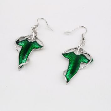 Lord of The Rings Green Leaf Elven Pin Brooch Pendant Earrings (Color: Green)