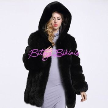 2017 Winter Thick Warm Women's Artificial Fur Coats Hooded Faux Fur Coat Female High Imitation Fox Fur Jacket Long Coat 4XL PC25