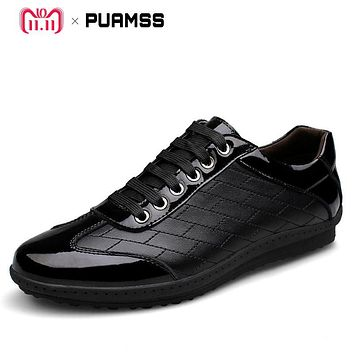 2017 New Brand Men Casual Shoes Genuine Leather Men Shoes Lace-up Breathable Soft Autumn Casual Flats Formal Shoes Plus Size 45