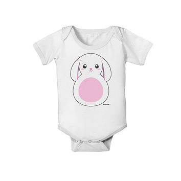 TooLoud Cute Bunny with Floppy Ears - Pink Baby Romper Bodysuit