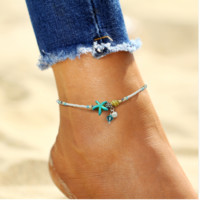 Vintage Starfish Beads Anklet