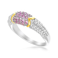 18K Yellow Gold & Sterling Silver Pink Sapphire Accented Popcorn Ring: Size 7