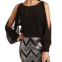 COLD SHOULDER SEQUIN CHIFFON 2FER DRESS