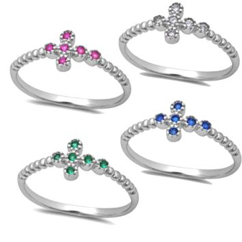 .925 Sterling Silver Sideways Cross Ring Ladies and Kids Size 4-10 Red Ruby Blue Sapphire Green Emerald Midi Thumb