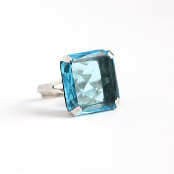 Vintage Art Deco Sterling Silver Simulated Blue Topaz Ring - 1930s Adjustable Size 7 Huge Glass Stone Statement Cocktail Dinner Ring Jewelry