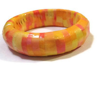 Sunrise Bangle - Watercolour, Red, Yellow, Orange, Repurposed Jewelry