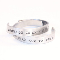 Quote Jewelry Courage is Knowing What Not Fear Hand Stamped Bracelet Plato Quote