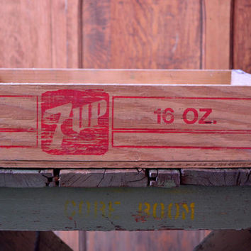 Vintage 7 UP Crate, Wooden 7UP Crate, 1960s 7UP Soda Crate, Watertown Wisconsin