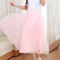 Casual Elastic Waist Plain Flared Maxi Skirt
