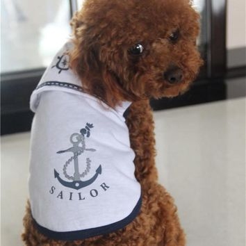 Pet Dog Cat Clothes Puppy Navy Costume Suit for Small Dog Shirt Sailor Vest Jersey Spring Funny small dog Uniforms Cat Costumes