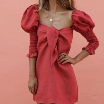 Hot style hot sell sexy tie the front knot cotton dress