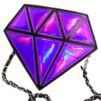 Purple Diamond Shaped Hologram Sling Bag