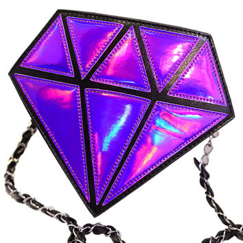 Purple Diamond Shaped Hologram Cross Body Bag