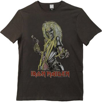 Iron Maiden Men's  Killers Slim Fit T-shirt Charcoal