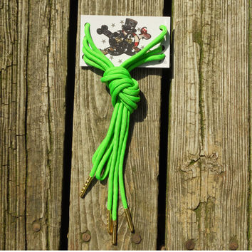 Neon Green Paracord Shoelaces/ Gold Aglet shoelaces by American Anarchy Brand