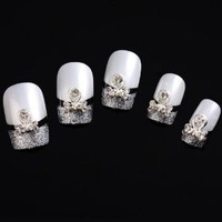 Yesurprise Unique Bow Tie Beads 10 pieces Silver 3D Alloy Nail Art Slices Glitters DIY Decorations