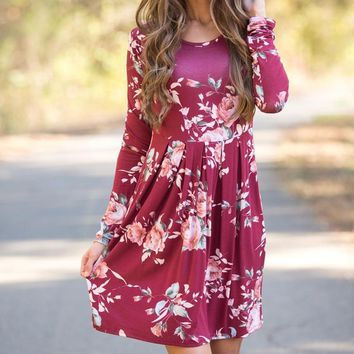 Spring Autumn Floral Maternity Dresses Full Sleeve Pregnancy Dress For Pregnant Women Daily Wearing Feeding Maternity Clothes