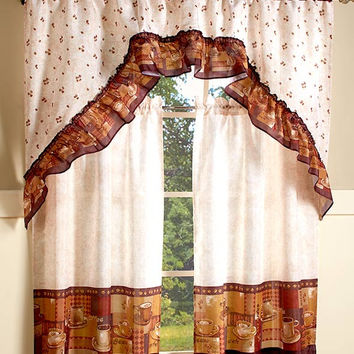 Coffee Theme Kitchen 3 Pc Curtain Set Braided Rug Vivid Colors Home Decor