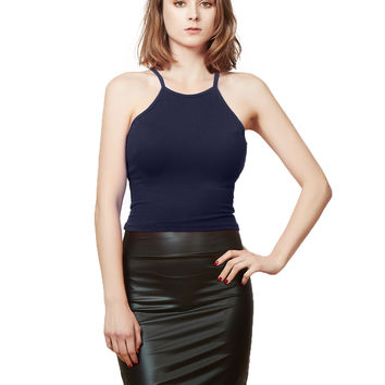 LE3NO Womens Lightweight Ribbed Racerback Cropped Tank Top