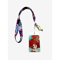 Licensed cool Disney The Little Mermaid Ariel Watercolor ID Holder Lanyard w/ Seahorse Charm