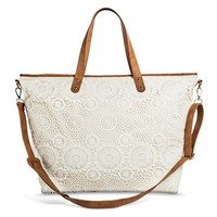 Women's Crochet Lace Overlay Canvas Weekender Handbag - Ivory