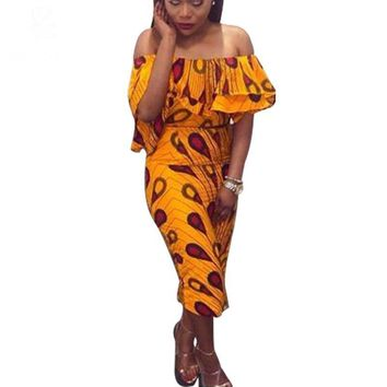 Personality african lady Ankara Batik Dress