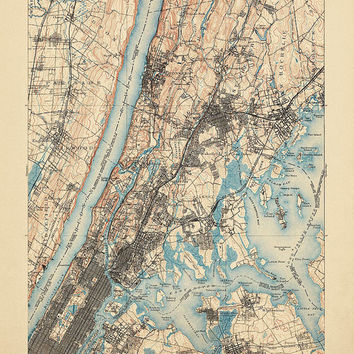 "Antique Map of New York City (1900) - USGS Topographic Map - 16""x20"" - Archival Reproduction"