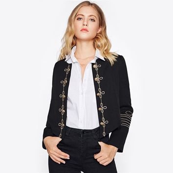 Golden Button Embellished Embroidery Office Blazer