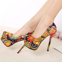 Black Multicolored Flower Print  Stiletto Pumps = 1945669444
