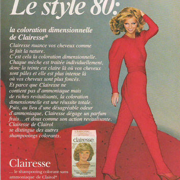 1980 French Clairesse Advertisement Cheryl Tiegs Ad Wall Decor Disco Super Model 80s Fashion Celebrity Advertising French 80's Red Decor